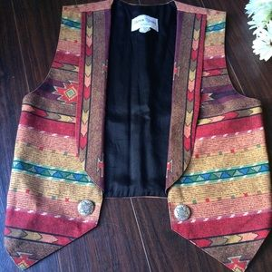 Vintage Southwest Rainbow Striped Vest W/ Buttons